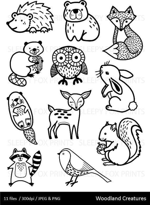 Woodland clipart black and white. Image result for fox
