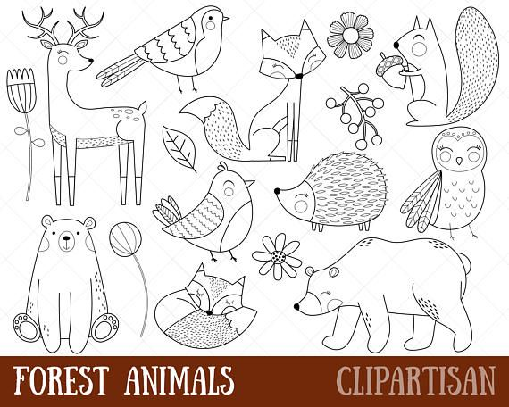 Animals digital stamps . Woodland clipart black and white