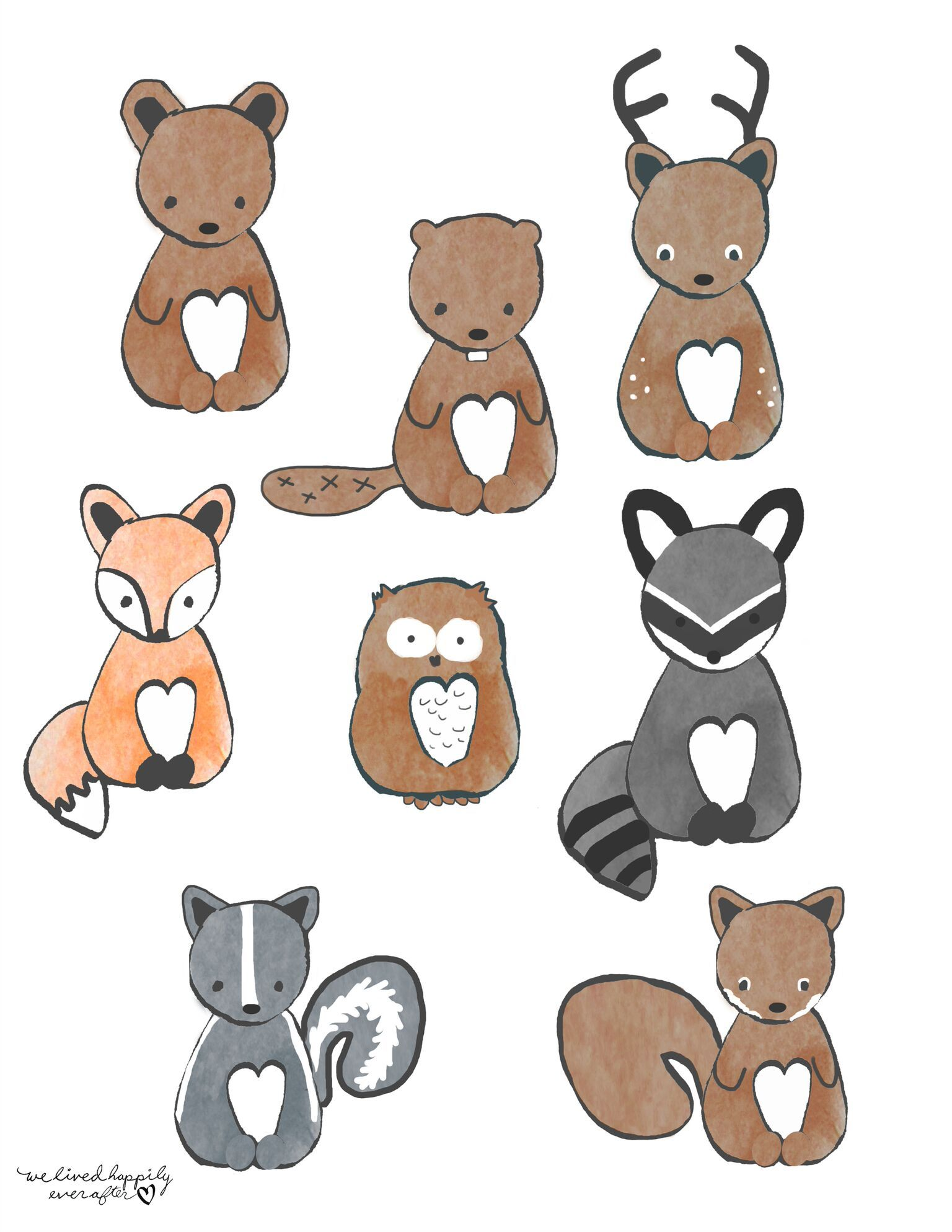 Dropbox forest animal banner. Woodland clipart bunting