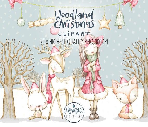 Woodland clipart christmas tree. Animals fox deer bunny
