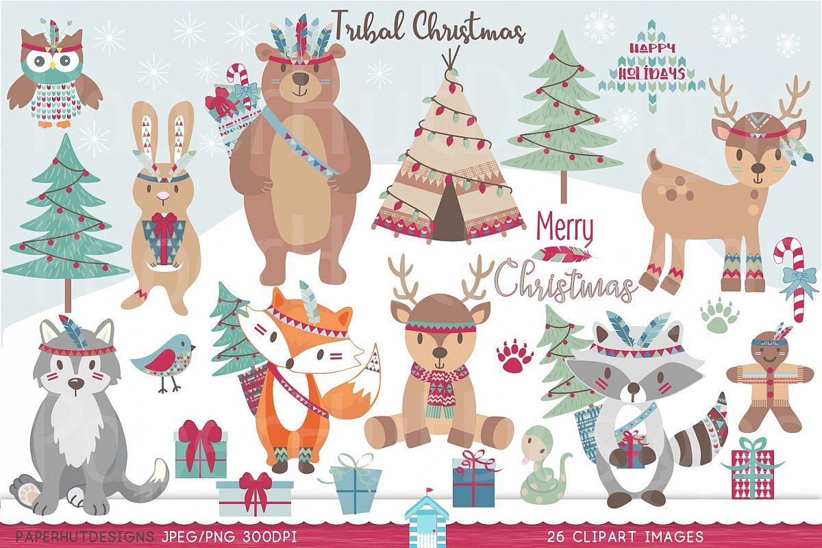 Woodland clipart christmas tree. Tribal animals