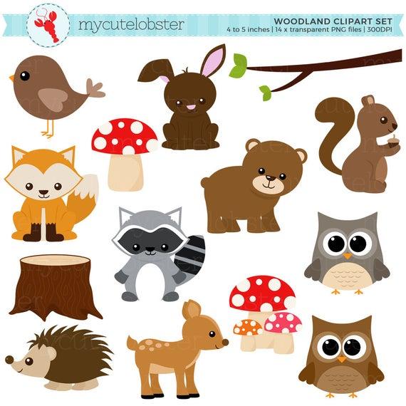Woodland clipart clip art. Set of animals trees