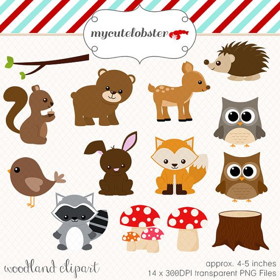 Set of animals . Woodland clipart clip art