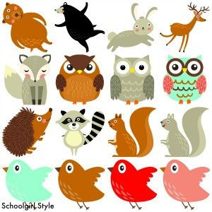 Animals outs marian s. Woodland clipart cut out