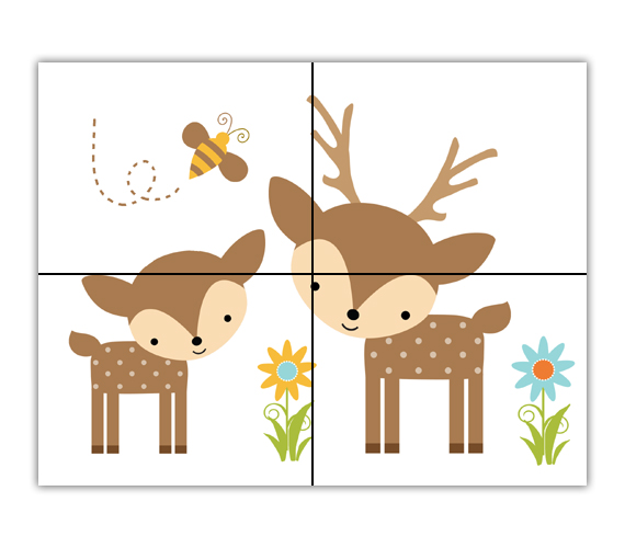 Download baby wall decal. Woodland clipart deer