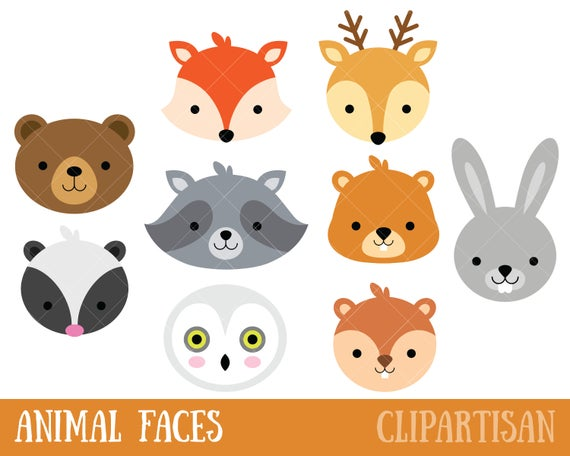 Animal photo booth masks. Woodland clipart faces