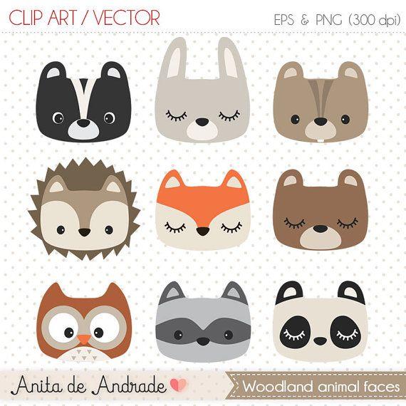 Woodland clipart faces. Cute animal nursery