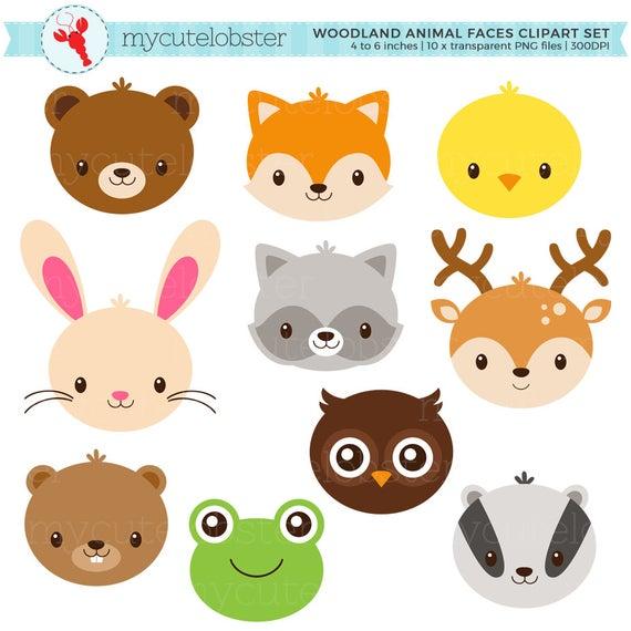 Animal set cute animals. Woodland clipart faces