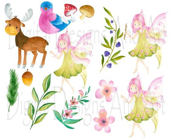 Woodland clipart fairy woodland. Forest illustration moose