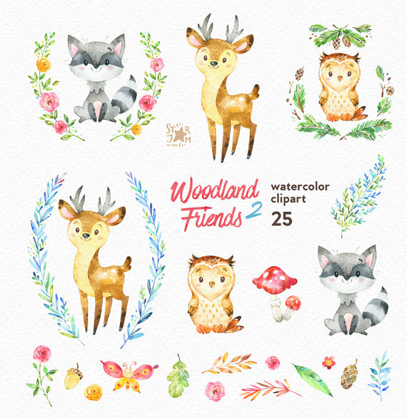 Friends watercolor animals forest. Woodland clipart floral