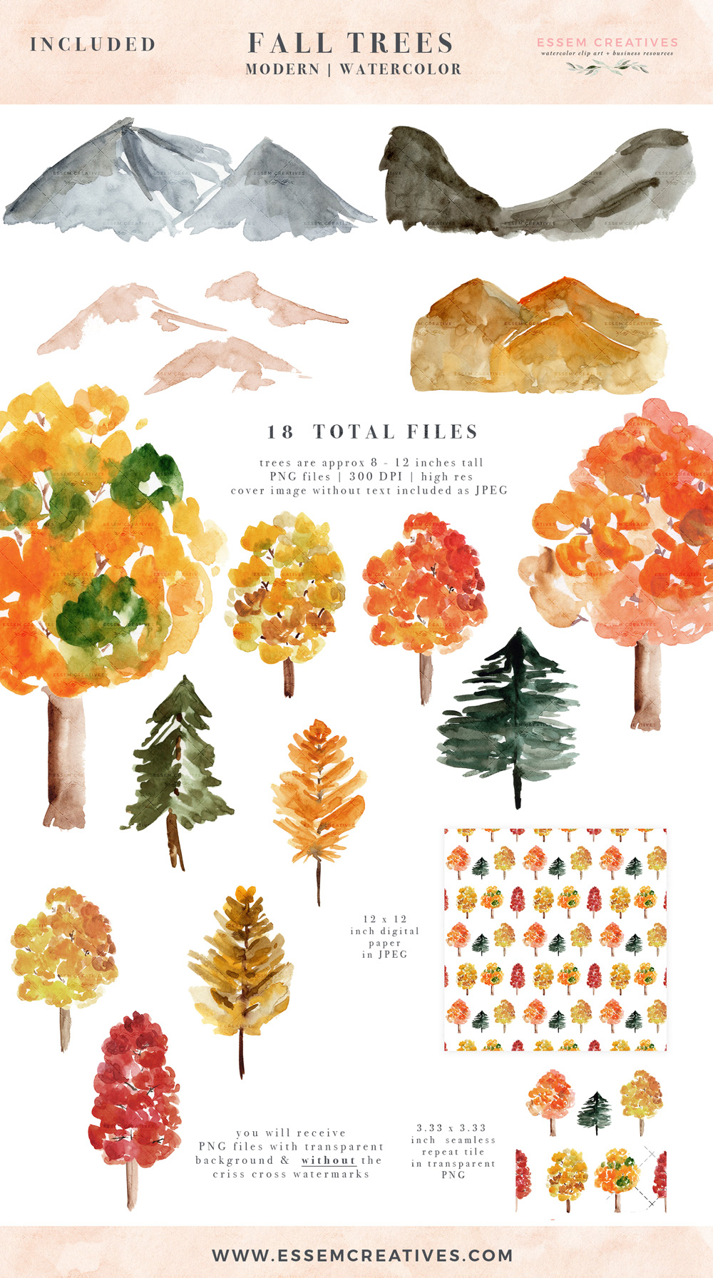Woodland clipart foliage. Rustic watercolor fall trees