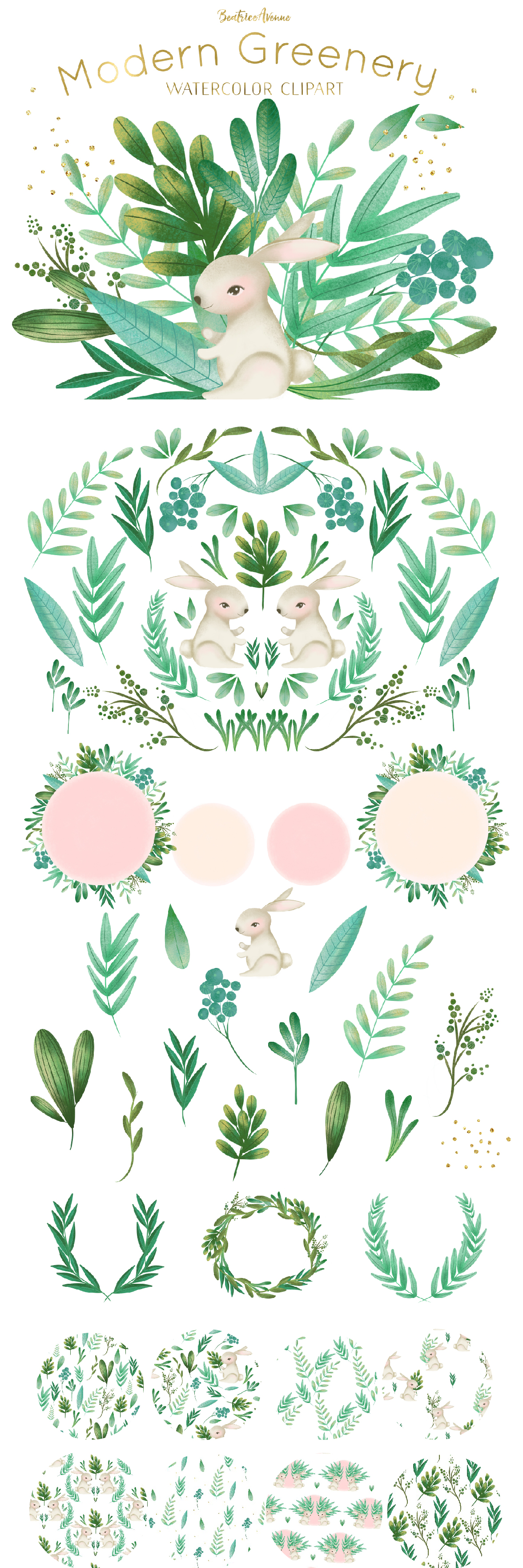 Modern greenery watercolor . Woodland clipart foliage