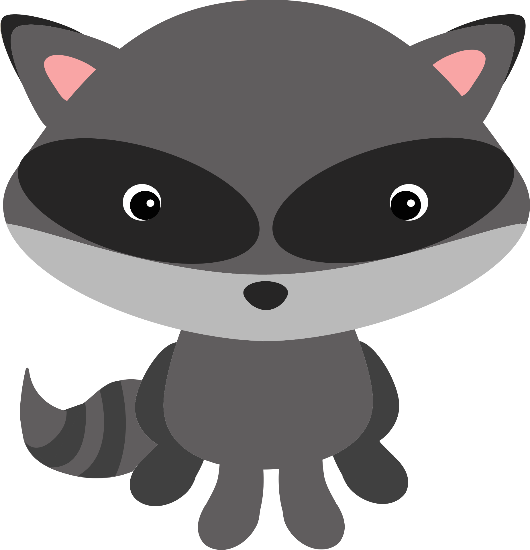 Raccoon t shirt animal. Woodland clipart gray fox