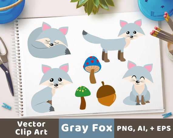 Woodland clipart gray fox. Foxes silver cute winter