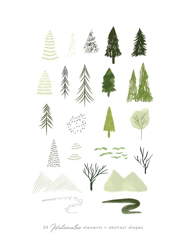 Woodland clipart greenery. Watercolor forest trees set