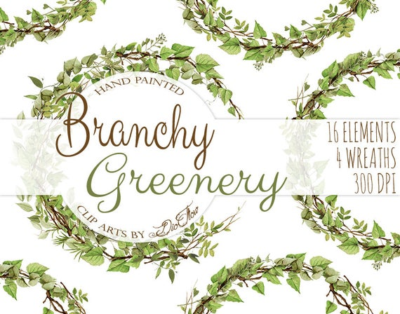 Watercolor leaves branches vines. Woodland clipart greenery