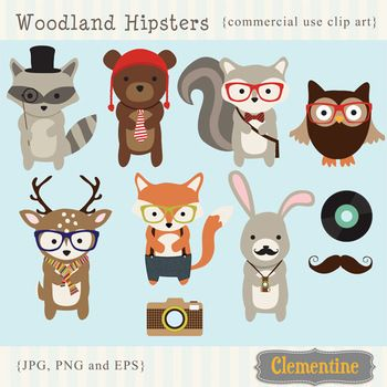 Hipsters clip art animals. Woodland clipart hipster