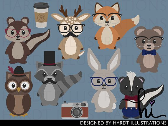 Animals . Woodland clipart hipster