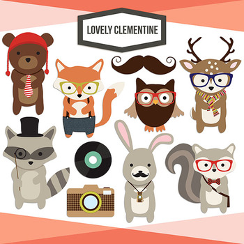 Woodland clipart hipster. Hipsters clip art animals