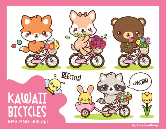 Woodland clipart kawaii. Animals cute riding bicycle