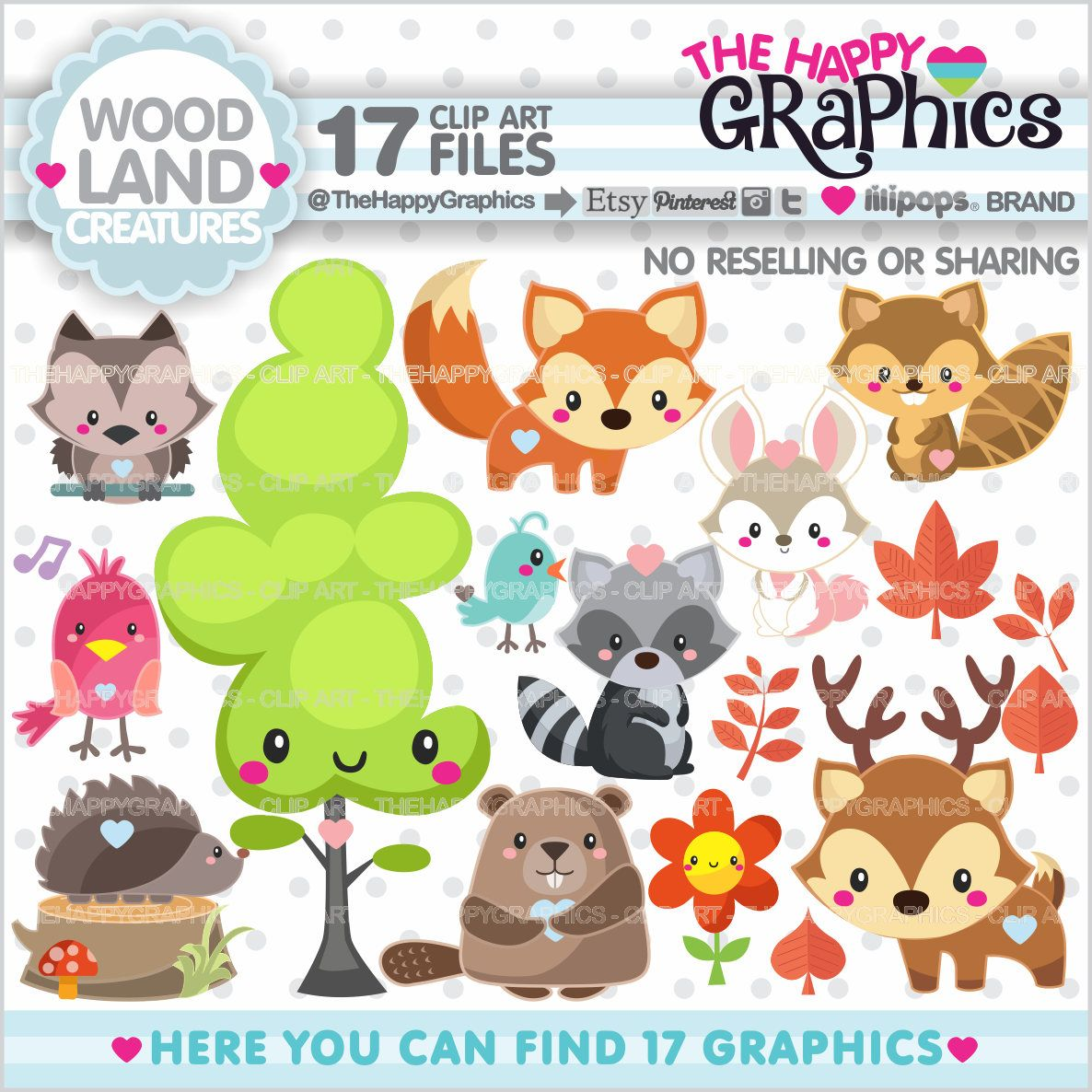 off graphic commercial. Woodland clipart kawaii