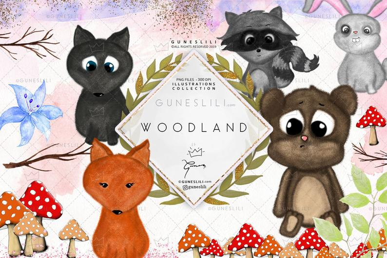 Woodland clipart kit fox. Animals digital download cute