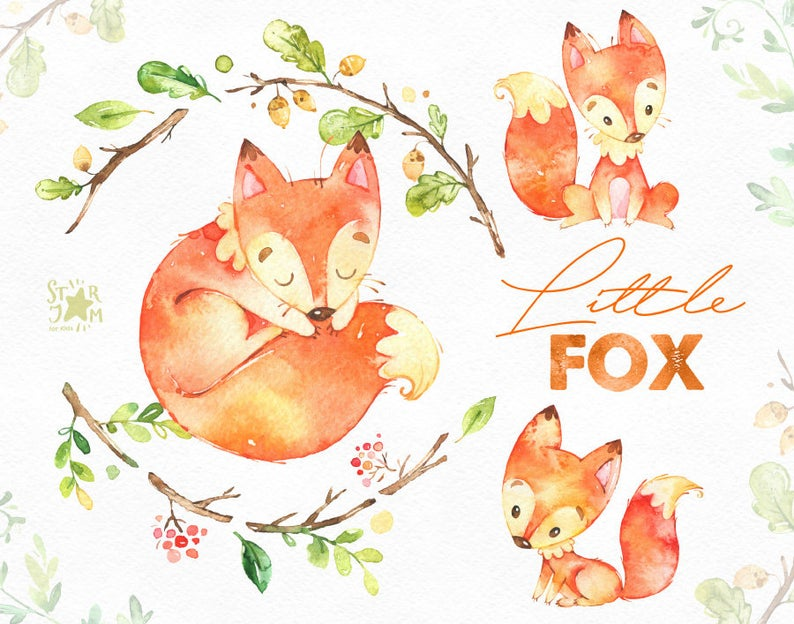Cute animal watercolor forest. Woodland clipart little fox