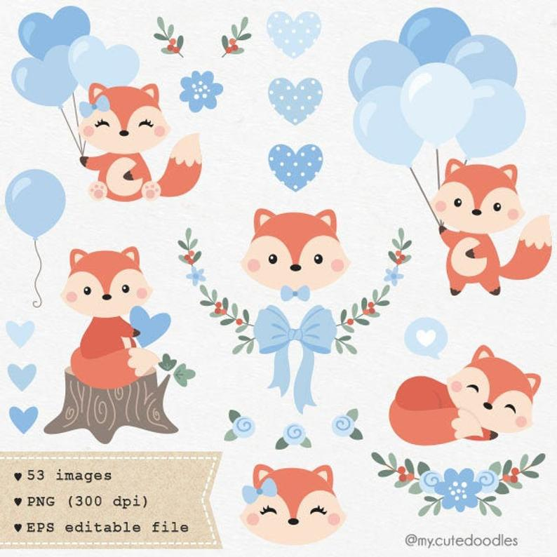 Woodland clipart little fox. Cute animals images nursery