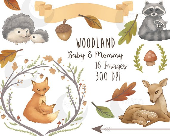 Mommy baby forest animals. Woodland clipart nature animal
