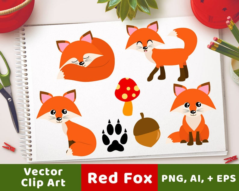 Red foxes forest animals. Woodland clipart orange fox