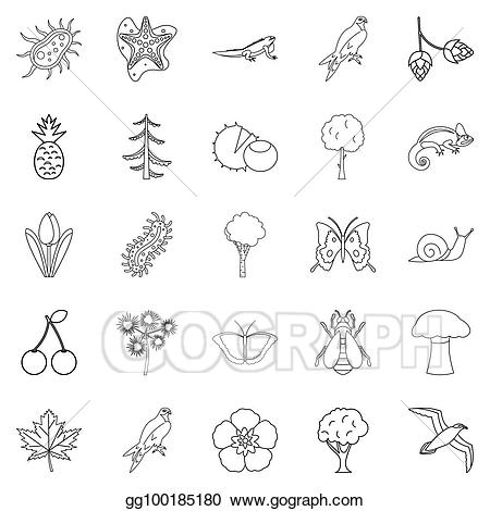 Woodland clipart outline. Icons set style stock