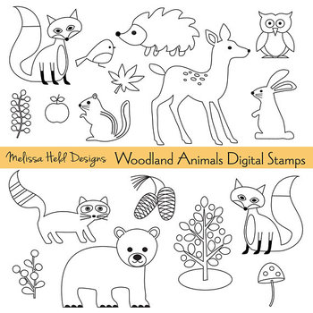 Animals digital stamps . Woodland clipart outline