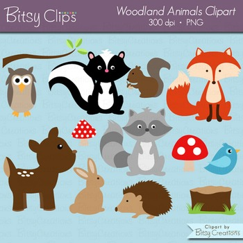 Woodland clipart outline. Animals commercial use with
