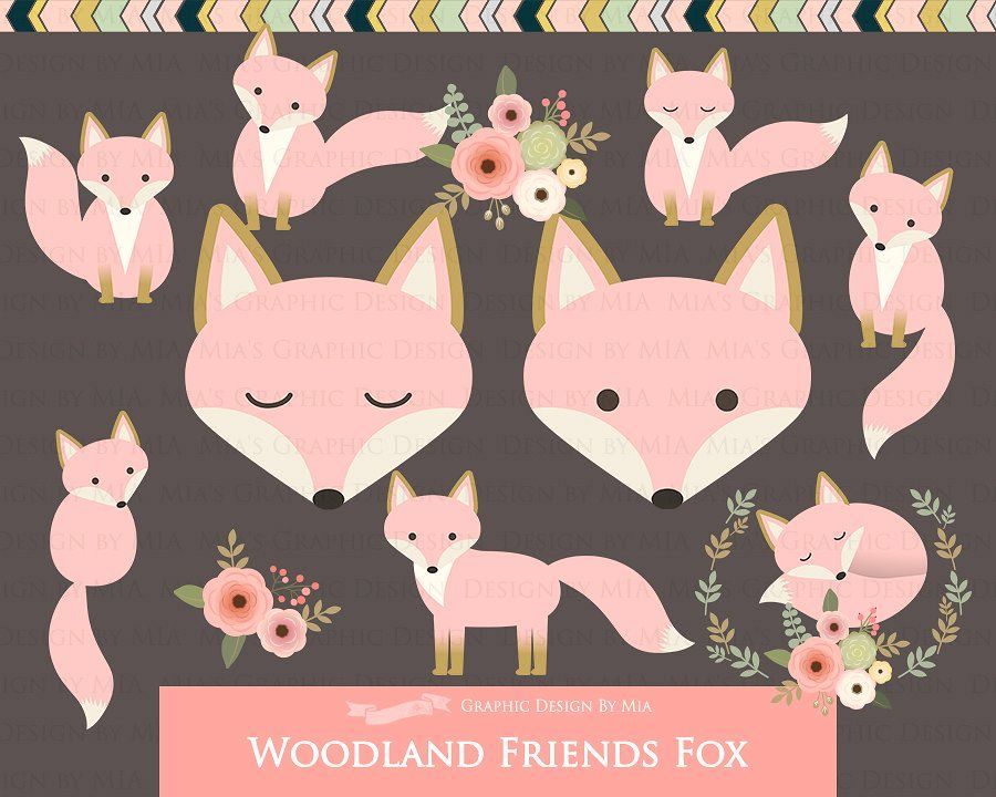 Pattern foxes art images. Woodland clipart pink fox