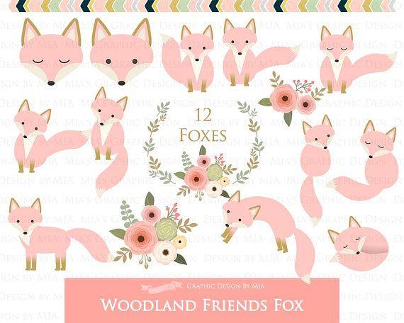 Friends digital clip . Woodland clipart pink fox