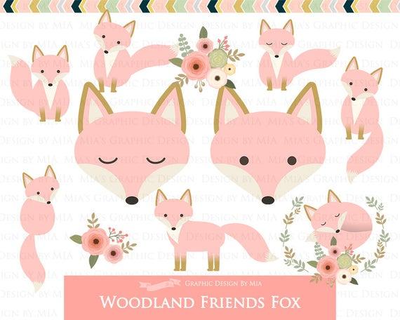 Friends digital clip art. Woodland clipart pink fox