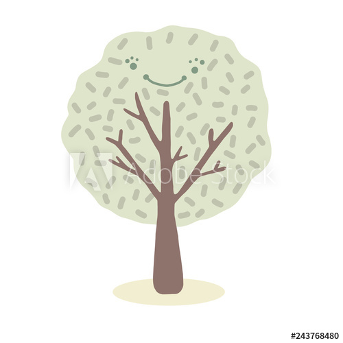 Kawaii cartoon vector tree. Woodland clipart plant