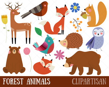 Forest animals clip art. Woodland clipart printable