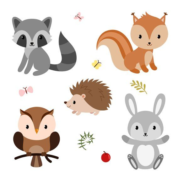 Woodland clipart printable. Cute forest animals baby