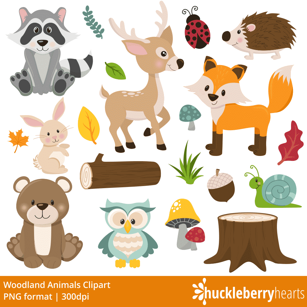 Friends . Woodland clipart printable