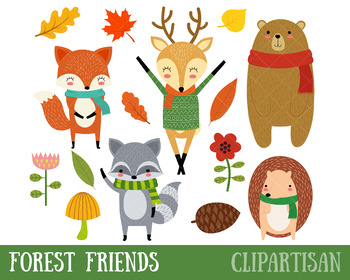 Woodland clipart printable. Animal clip art forest