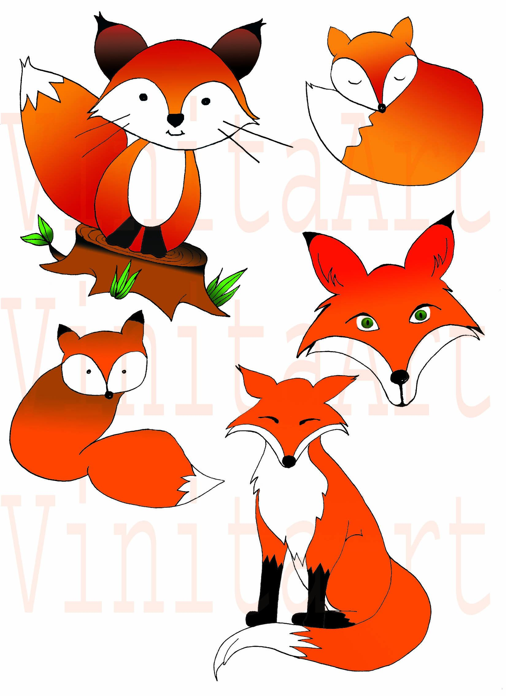 woodland clipart red fox
