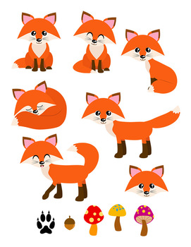 Woodland clipart red fox. Foxes forest animals cute