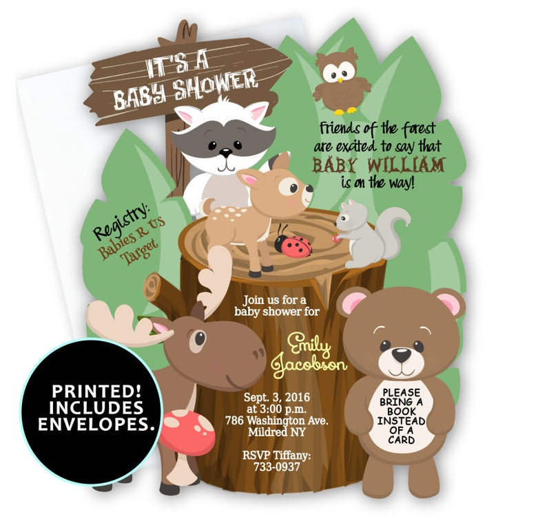 Woodland clipart rustic baby. Shower invitations boy printed