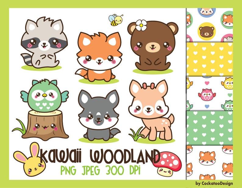 Spring animals kawaii baby. Woodland clipart sad