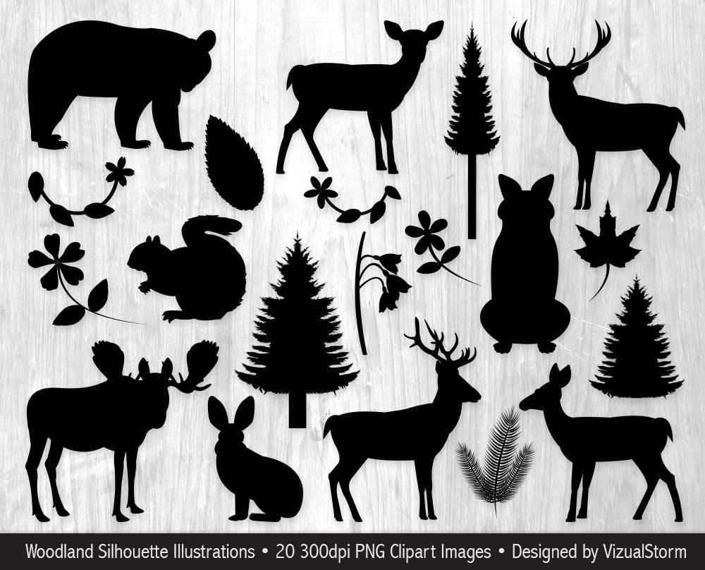 Animals silhouettes clip art. Woodland clipart silhouette