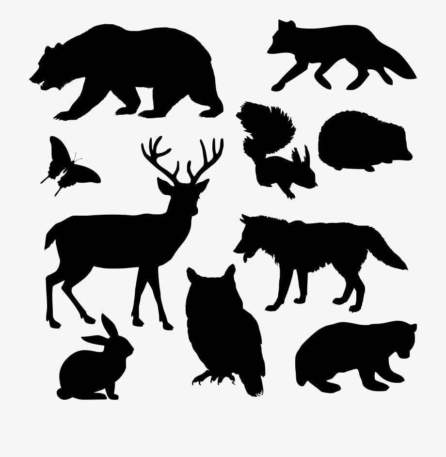 Woodland clipart silhouette. Farm animals animal silhouettes
