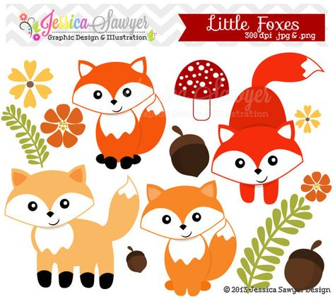 Instant download little fox. Woodland clipart simple