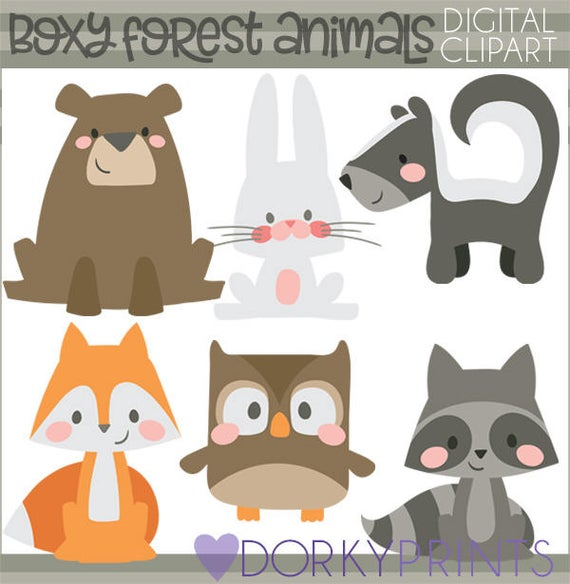 Boxy animals personal and. Woodland clipart simple