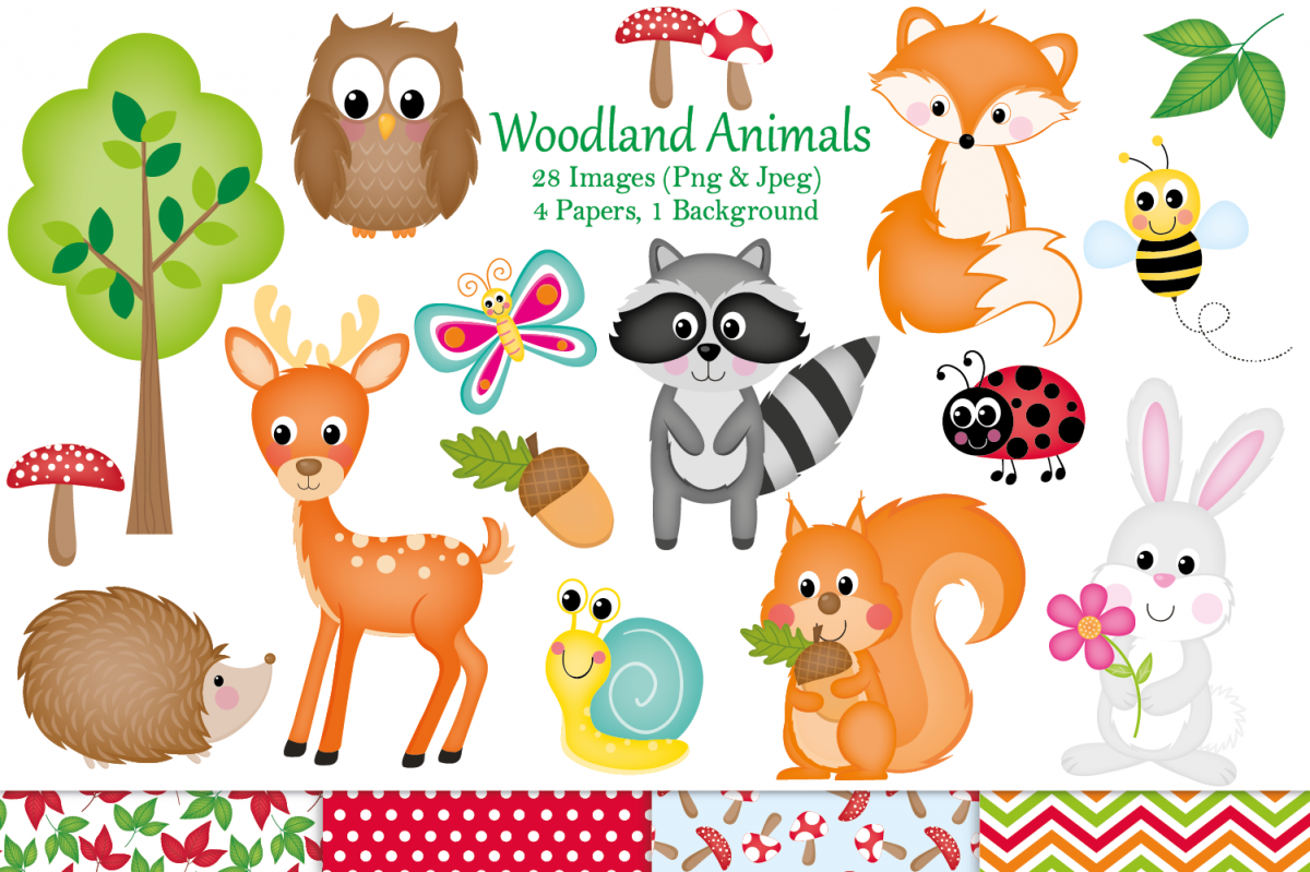 Graphics illustrations . Woodland clipart single animal